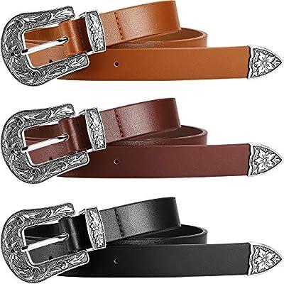 3 Pieces Vintage Western Belt Artificial Leather Waist Belt for Women Jeans, Pants