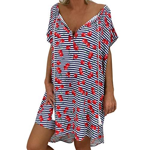 Xmiral Vestito Donna con Manica Corta Vestiti Estivi Donna Scollo V Abito Donna Abito Estivo Mini Dress Manica Lunga Stampa Tre Quarti (5XL,6- Rosso)