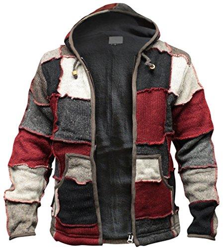 SHOPOHOLIC FASHION Giacca Hippie in lana con patch invernale per Uomo Medio Multicolore
