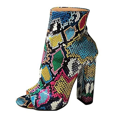 Fullwei Boots for Women,Women Chunky High Heels Side Zipper Snakeskin Platform Booties Peep Toe Combat Block Heel Shoes (Blue, 10)