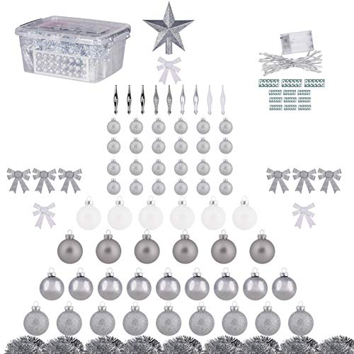 123ct Christmas Ball Ornaments with Tree Topper, Tinsel, Bows and String Lights, Glass Xmas Balls for Christmas Tree Decoration (Silver-White)