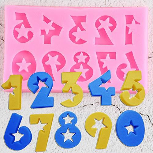UNIYA Números 3D Moldes de SiliconaCumpleaños Cupcake Topper Fondant Herramientas de decoración de Pasteles Galleta Candy ClayMoldes deChocolate