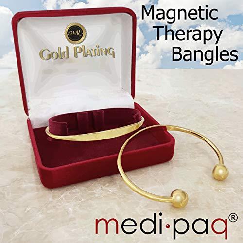 2 pulseras magnéticas para la salud de la artritis (pulsera de torsión) chapadas en oro de 24 quilates