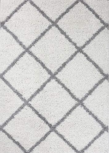Moderne Shaggy Hochflor Teppiche Rauten Design in Creme Beige Grau Schwarz, Farbe:Weiß, Maße:70x140 cm