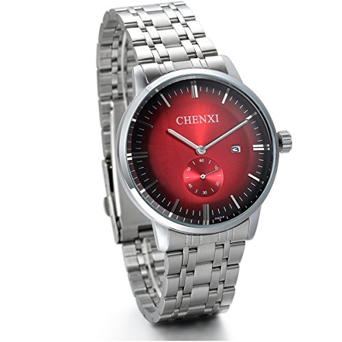 JewelryWe Herren Armbanduhr, Analog Quarz, Luxus Elegant Business Kalender Uhr mit Edelstahl Armband & Rund Zifferblatt, Silber Rot