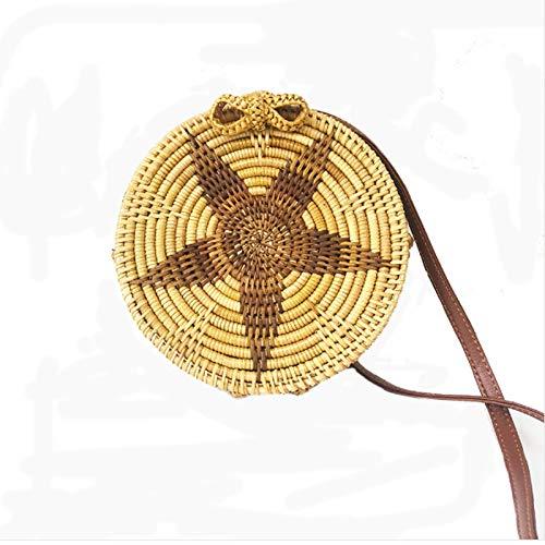 Malacca Sacchetto,Originale Colore Cinque Punte Stella Cannuccia Sacchetto,Crossbody Sacchetto Squisito Decorazioni/Come mostrato/B:20cm