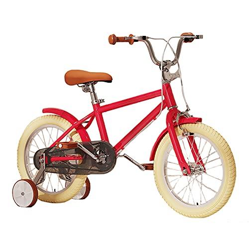 Bicicleta para Niños Niñas Niños Niñas Estilo Libre 16 20 Pulgadas con Ruedas De Entrenamiento para Niños De 4 a 8 Años con Pata De Cabra Bicicleta para Niños con Asiento Ajustable,Rojo,16inches