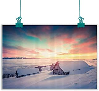 Nature Modern Oil Paintings Winter Sunrise on Mountain Valley with Old House Nordic Misty Sky View Canvas Wall Art 20