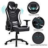 EasySMX Reclining Memory Foam Racing Gaming Chair, Ergonomic High-Back Racing Computer Desk Office Chair with Retractable Footrest and Adjustable Lumbar Cushion (Blue-Black)