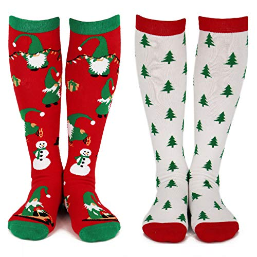 Lavley - Womens - Knee High Novelty Christmas Socks - (Gnomes & Trees, Cookies & Candy) (Red and White)