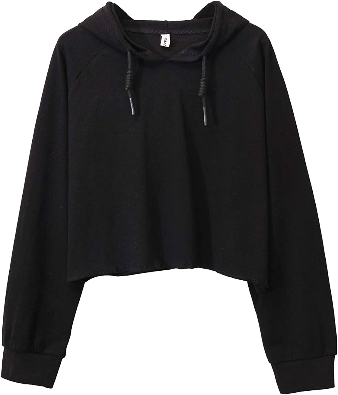 Women's Cropped Sweatshirt Casual Long Sleeve Pullover Crop Top with Hooded