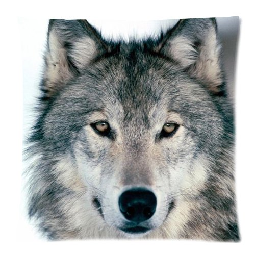 Grey Wolf Face Zippered Pillow Cases Cover Cushion Case 18x18 Inch