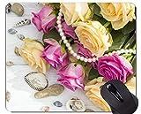 Yanteng Estera del ratón del Juego, cáscara de la Flor de Rose - Bordes cosidos