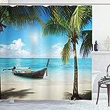 ABAKUHAUS Nautisch Duschvorhang, Kleines Boot Sunny Ozean, Trendiger Druck Stoff mit 12 Ringen Farbfest Bakterie & Wasser Abweichent, 175 x 220 cm, Aqua Coconut Grün