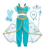 Cotrio Big Girls Arabian Exotic Princess Costume Dresses Children Kids Belly Dance Dress Halloween Outfits Clothes Size 12 (11-12 Years, Teal, Gloves, Tiara, Scepter, Necklace, Ring, Earrings)