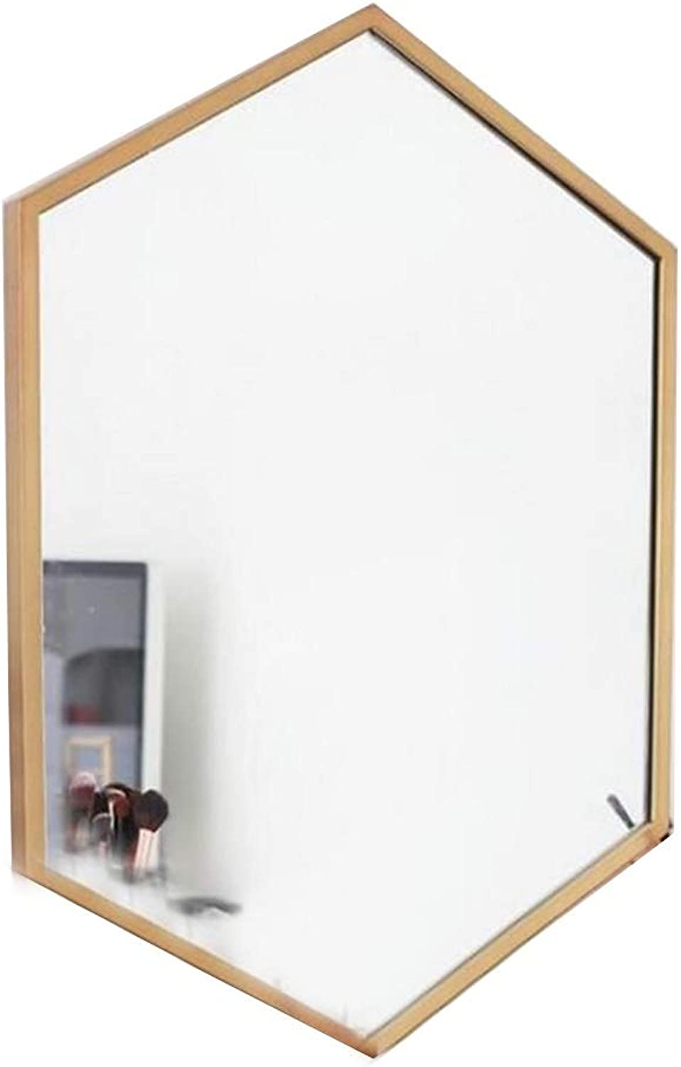 Selm Hexagonal Geometric Mirror,with Explosion-Proof Function Suitable for Bathroom, Bedroom, Hotel Decoration (color   gold, Size   50cmX70cm)