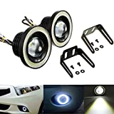 AutoBizarre Car Fog Lamp Angel Eye LED DRL Projector Cob Light 89mm (3.5 inches Front) (2.5 inches...