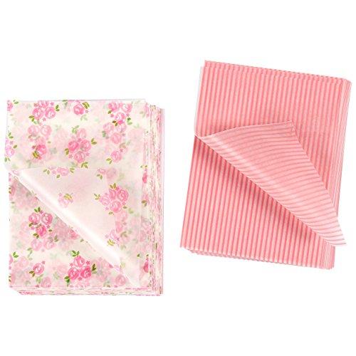 Envoltura de caramelos, 200 hojas de chocolate, caramelo y Lollipop, papel de cera torcida turrón en rosa y blanco estampado de rayas y rosa, 4.75 x 3.5 pulgadas