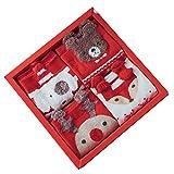 HTTOAR Calcetines Navideños para Mujer, Calcetines Dibujos 4 pares de Bonitos Calcetines de Algodón para Damas(rojo)