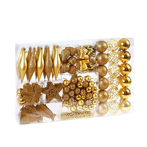 Deuba Weihnachtskugeln 102 Set Gold Aufhänger Christbaumschmuck Christbaumkugeln Weihnachtsbaumkugeln Weihnachtsbaumschmuck