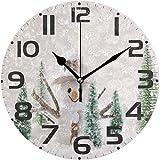 TABUE Silent Vintage Winter Snowman Snowflake Merry Christmas Tree Reloj de Pared Redondo 9.8inch / 25cm