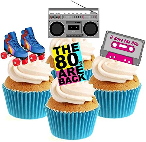 Edible 80's Party Cake Toppers (12 Pack) made with edible ink. Give your cakes an instant 80s look.