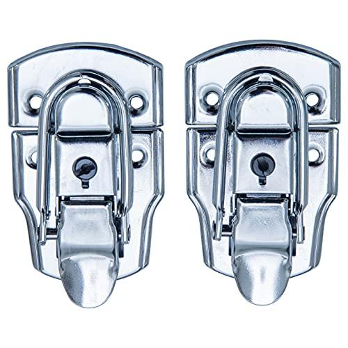 HMF 14985-09 - Chiusura con serratura, 2 pezzi, 45 x 75 mm, argento zincato