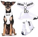 Blind Dog (Hund Hat Limited/keine Sight) weiß Farbe Kodiert non-pull Vorder- und Rückseite D-Ring gepolstert und wasserdicht Weste Hundegeschirr verhindert Unfälle durch vorwarnen anderer Hunde in Advance (extra kleine Hals bis zu 26cm Brust 33-48cm)