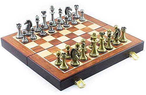 DJRH Conjunto de ajedrez Internacional con Placa de ajedrez de Madera Plegable y Piezas de ajedrez de Metal de Piezas de Metal clásicas de Piezas para niños (11.8 * 11.8 en) ( Color : Bronze )