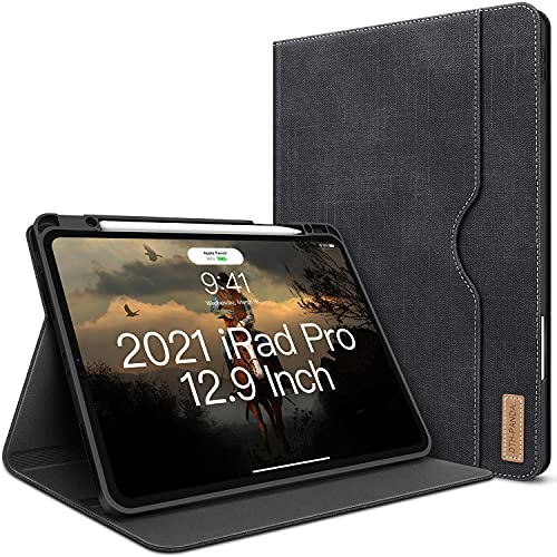 """Hülle für iPad Pro 12.9 2021/2020/2018 (5.Gen/4.Gen/3.Gen) mit Stifthalter Leder Standfuß Denim Automatischem Schlaf/Aufwach Unterstützung Stift Kabelloses Aufladen DTH-Panda iPad Pro 12.9""""Hülle"""
