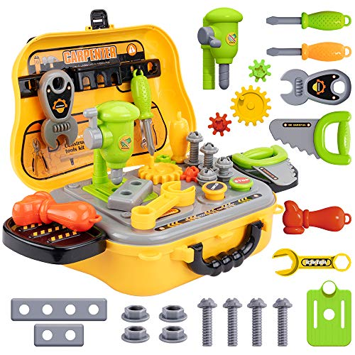 UNIH Kids Tool Sets for Boys Age 2-4 Childs Carpenter Preschool Fixing Tool Kit with Yellow Box, Toys for 2 Year Old Boy