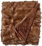 Best Home Fashion Coyote Faux Fur Throw Blanket - 58' W X 60' L
