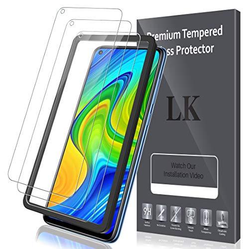 LK Compatible con Xiaomi Redmi Note 9 Protector de Pantalla,3 Pack,9H Dureza Cristal Templado, Equipado con Marco de Posicionamiento,Vidrio Templado Screen Protector