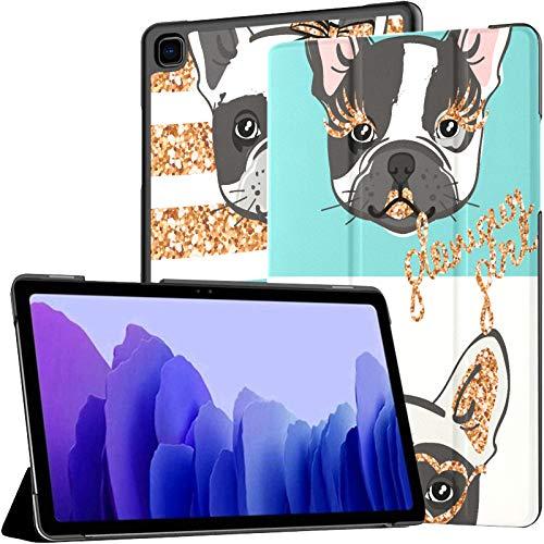 Paillettes Puppy Doy Star French Bulldog Tablet Case Galaxy Tab A7 10,4 Pouces Galaxy Tablet Case pour Tablette avec réveil/Sommeil Automatique Fit Galaxy Tab A7 10.4 2020 étui pour