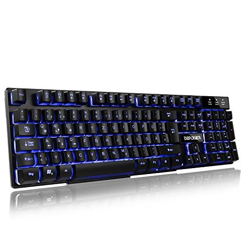 Dvtecheu 3 Farben Beleuchtung Gaming Tastatur, LED Hinterleuchtet USB Verdrahtete Spiel-Tastaturen Schwarz - DE Layout