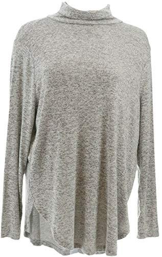 AnyBody Loungewear Brushed Hacci Turtleneck Top Heather Grey XXS New A345165
