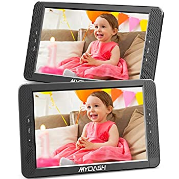 MYDASH 10.1  Dual Car DVD Player Headrest Kids CD DVD Player with Built-in 5 Hrs Rechargeable Battery and Bracket Support USB/SD/MMC Card& Resume Play Function&AV in/Out  1 Player+1 Monitor