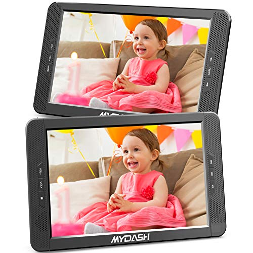 MYDASH 10.1' Dual Car DVD Player, Headrest Kids CD DVD Player with Built-in 5 Hrs Rechargeable...
