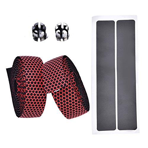 1 paio di nastri per manubrio della bicicletta, anti-scivolo, assorbimento degli urti, mountain bike e manubrio, set di tappi per cintura (rosso)
