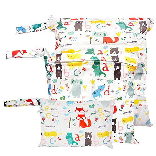 Bolsa Pañales Impermeable para Pañales de Tela Kit de Bolsa de Pañales Secos y Húmedos Taff Animal Pattern Pañal Bolsa con Cremallera Húmeda 3pcs