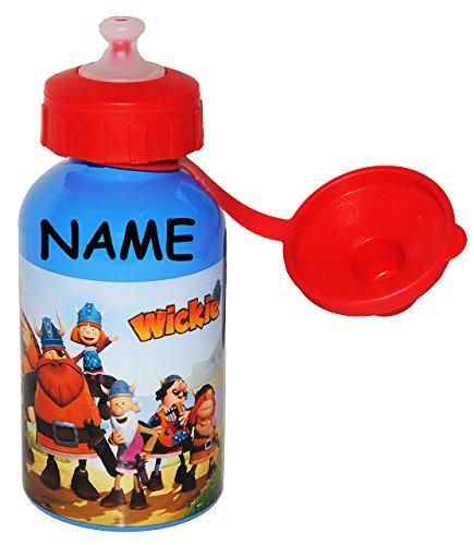 alles-meine.de GmbH ALU - Trinkflasche  Wickie und die starken Männer  incl. Namen - aus Aluminium 250 ml - auslaufsicher - für Kinder Aluflasche - Flasche / Mädchen & Jungen -..