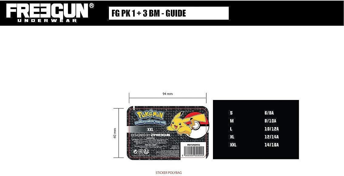 FREEGUN Boxer Microfibre Garcon Pokemon Snow