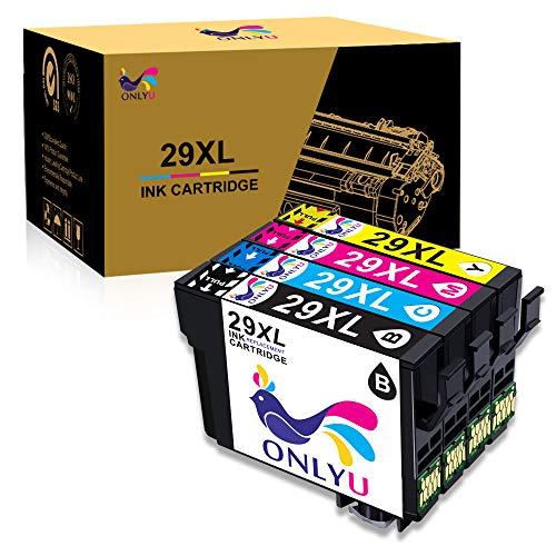 ONLYU 4-Pack Compatibile Epson 29 XL 29XL Cartuccia inchiostro per Epson Expression Home XP-235 XP-245 XP-247 XP-330 X XP-332 XP-335 XP-342 XP-345 XP-430 XP-432 XP-435 XP-442 XP-445 (1B/1C/1M/1Y)