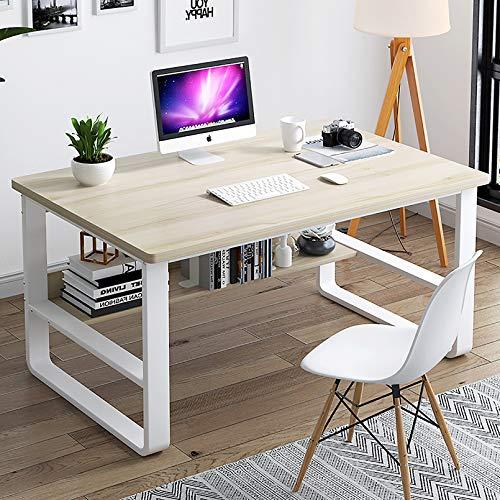 XM&LZ Holz Schreibtisch Mit Regal,Modernen Home-Office-Schreibtisch Mit Hutch Einfache Tabelle,Industrie Laptop-Tisch Für Große Räume-Weiß 120x60x72cm(47x24x28inch)