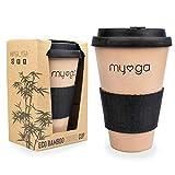 Myga Taza de café reutilizable de fibra de bambú ecológica, con tapa de...
