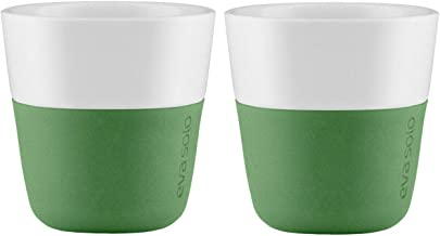 Eva Solo Botanic Green Porcelain Coffee Tumblers with Silicone Sleeve (2pc Sets) (Espresso - 80ml)