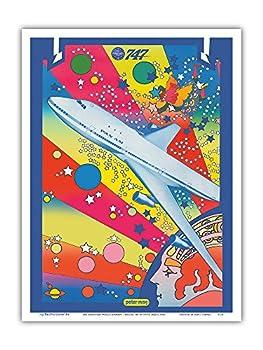 Pan American World Airways - Boeing 747 - Pop Art - Vintage Airline Travel Poster by Peter Max c.1969 - Master Art Print 9in x 12in