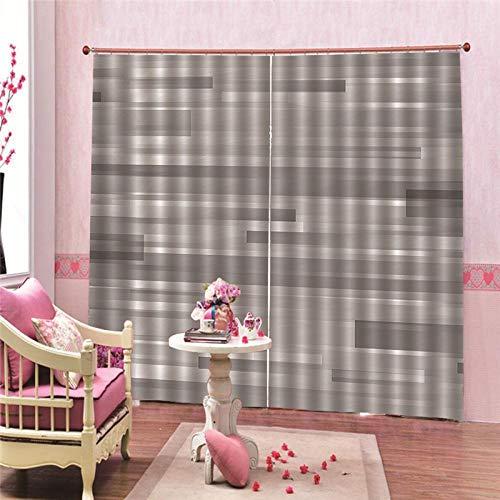 Verduisteringsgordijnen, warmte-isolerend, metalen stijl, polyester-stof, wasbaar, voor slaapkamer en woonkamer (140x180cm x 2 pcs)