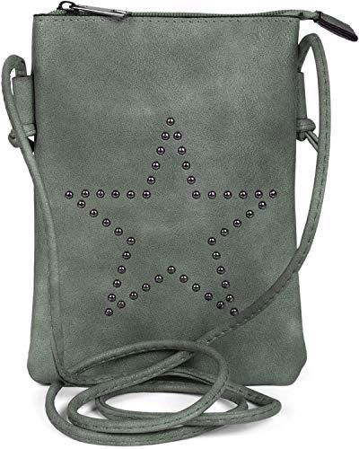 styleBREAKER Mini Bag Umhängetasche mit Nieten in Stern Form, Schultertasche, Handtasche, Tasche, Damen 02012235, Farbe:Grau-Blau