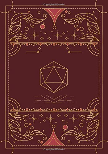 RPG journal: Mixed paper: Ruled, graph, hex: For role playing gamers: Notes, tracking, mapping, terrain plans: Vintage maroon red dice deco cover design